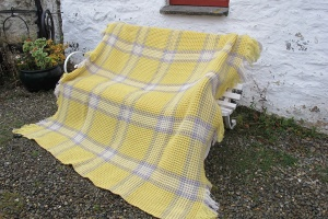 yellow and lavender honeycomb blanket