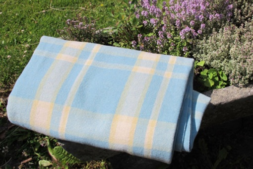 Blue with Yellow and Cream Blanket - blanket roll