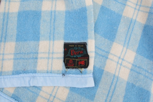 Soft blue and cream plaid blanket - Derw Mill label