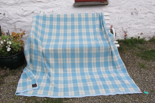 Soft blue and cream plaid blanket
