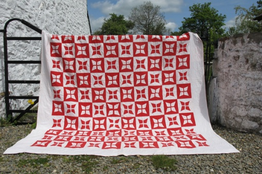 Victorian red and white applique quilt