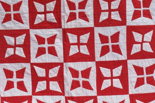 Victorian red and white applique quilt - detail