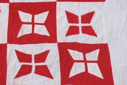 Victorian red and white applique quilt - stitching detail