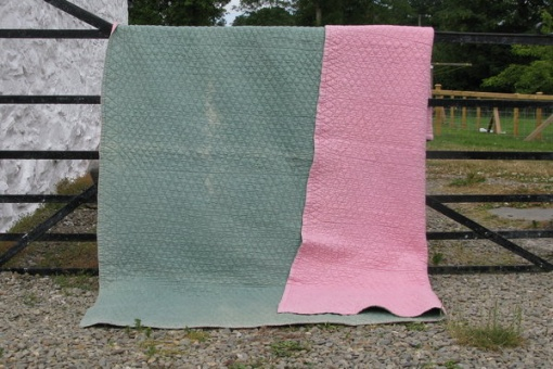 pink and green wholecloth quilt - reverse