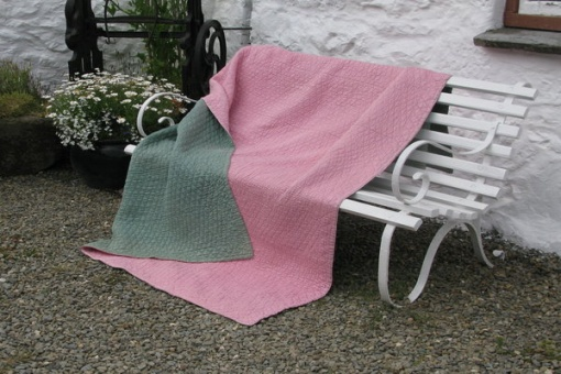 pink and green wholecloth quilt
